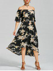 Floral Off The Shoulder High Low Dress - BLACK
