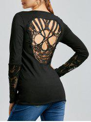 Back Skulls Lace Panel Long Sleeve Top