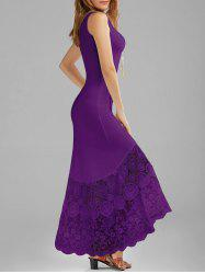 Scalloped Lace Panel Maxi Tank Dress - PURPLE