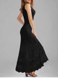 Scalloped Lace Panel Maxi Tank Dress - BLACK