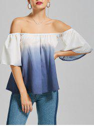 Flare Sleeve Off The Shoulder Ombre Top