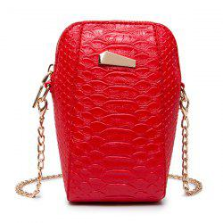 Crocodile Embossed Chain Crossbody Bag - RED