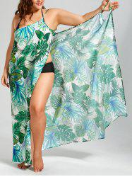 Palm Leaf Print Plus Size Maxi Cover Up Dress