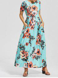 Casual Short Sleeve Floral Long Maxi Dress - COLORMIX