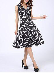 Leaves Print Midi Fit and Flare Dress -