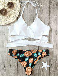 Pineapple Print Wrap Bikini Set - WHITE