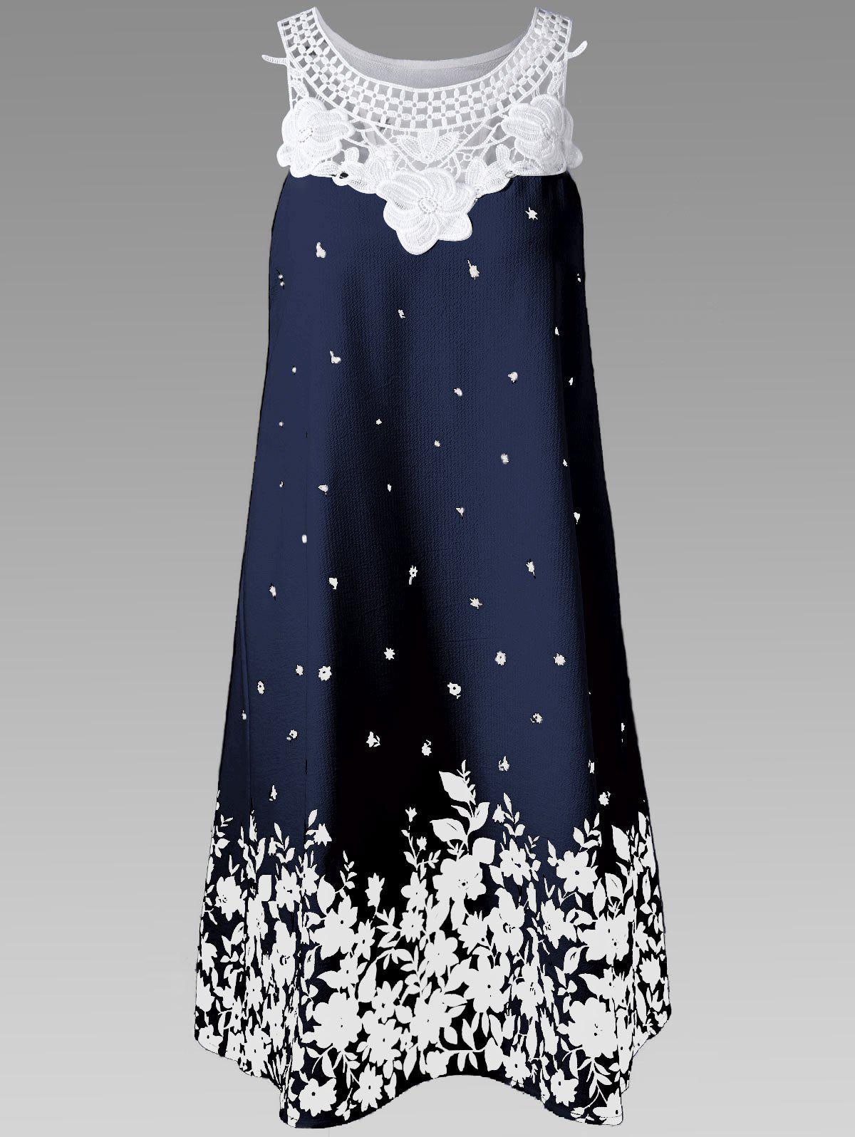 Casual Lace Panel Racerback Floral Tent DressWOMEN<br><br>Size: XL; Color: PURPLISHBLUE + WHITE; Style: Casual; Material: Polyester; Silhouette: A-Line; Dresses Length: Knee-Length; Neckline: Round Collar; Sleeve Length: Sleeveless; Pattern Type: Floral; With Belt: No; Season: Summer; Weight: 0.3600kg; Package Contents: 1 x Dress; Occasion: Beach and Summer,Casual,Club,Outdoor;