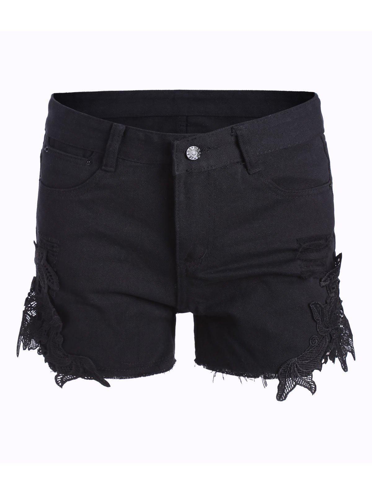 Discount Lace Panel Ripped Denim Shorts