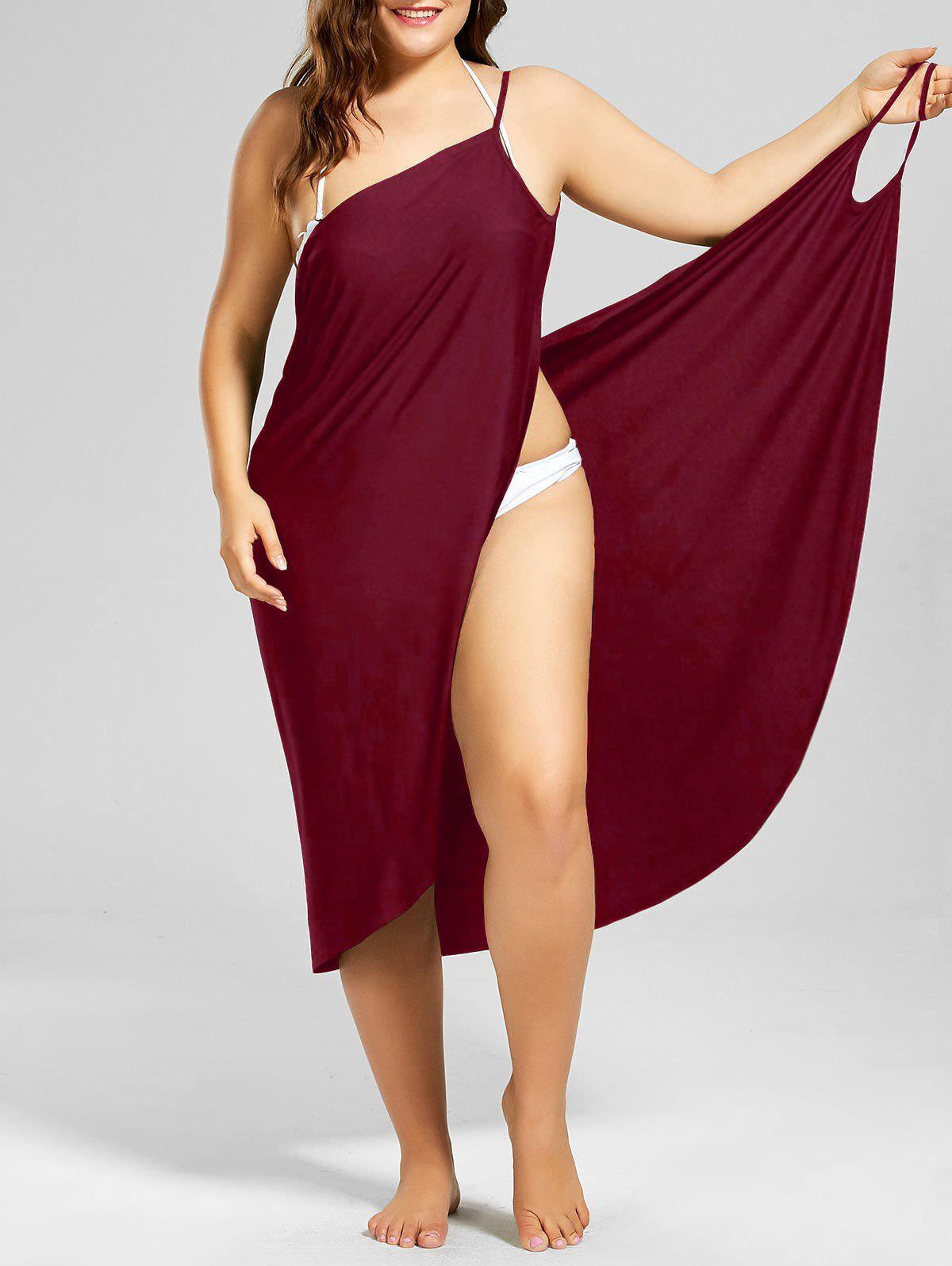 Beach Cover-up Plus Size Wrap DressWOMEN<br><br>Size: 3XL; Color: WINE RED; Gender: For Women; Swimwear Type: Cover-Up; Material: Polyester,Spandex; Pattern Type: Solid; Waist: Natural; Elasticity: Elastic; Weight: 0.3000kg; Package Contents: 1 x Cover Up Dress;