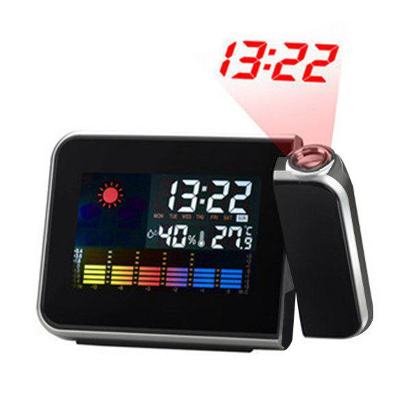 Temperature Humidity Display Digital LED Projection Alarm ClockHOME<br><br>Color: BLACK; Power: 2 * AAA Battery (not Included);