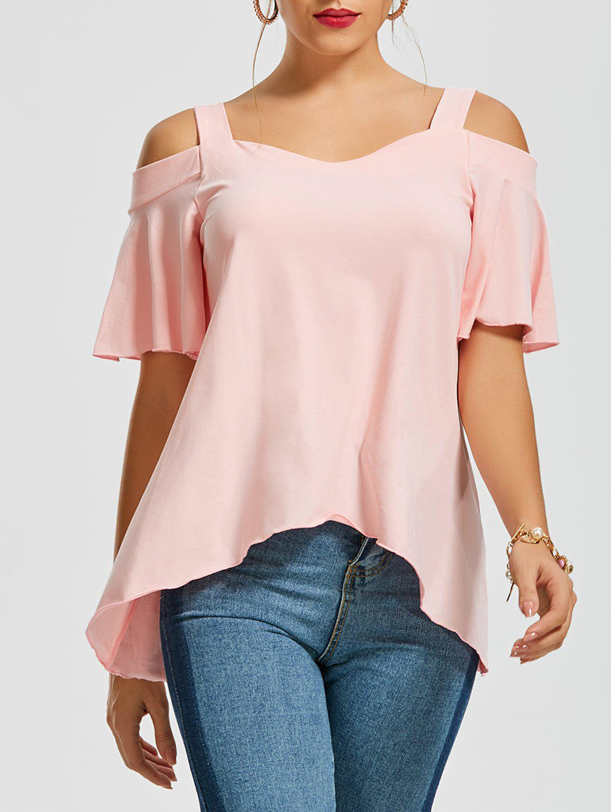 Asymmetrical Cold Shoulder TopWOMEN<br><br>Size: XL; Color: PINK; Occasion: Casual; Style: Casual; Material: Polyester,Spandex; Shirt Length: Regular; Sleeve Length: Short; Collar: Sweetheart Neck; Pattern Type: Solid; Season: Summer; Elasticity: Elastic; Weight: 0.2700kg; Package Contents: 1 x Top;