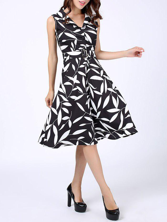Discount Leaves Print Midi Fit and Flare Dress