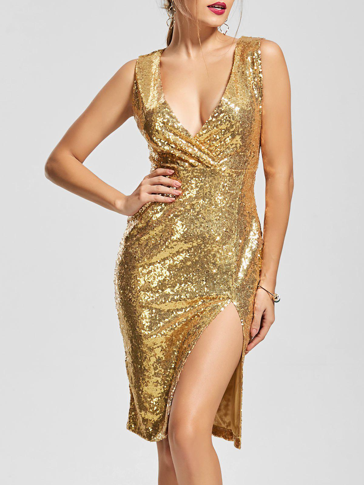 2018 Front Slit Plunging Neck Bodycon Sequin Dress In