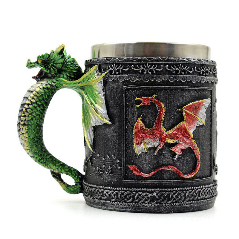 Novelty Stainless Steel 3D Dragon MugHOME<br><br>Color: COLORFUL; Type: Mugs; Material: Stainless Steel; Weight: 0.3500kg; Package Contents: 1 x Mug;