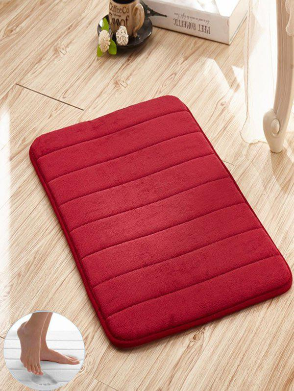 Slow Rebound Memory Coral Fleece Striped Door MatHOME<br><br>Size: W16 INCH * L24 INCH; Color: WINE RED; Products Type: Bath rugs; Materials: Coral FLeece; Pattern: Solid; Style: Trendy; Shape: Rectangle; Package Contents: 1 x Rug;