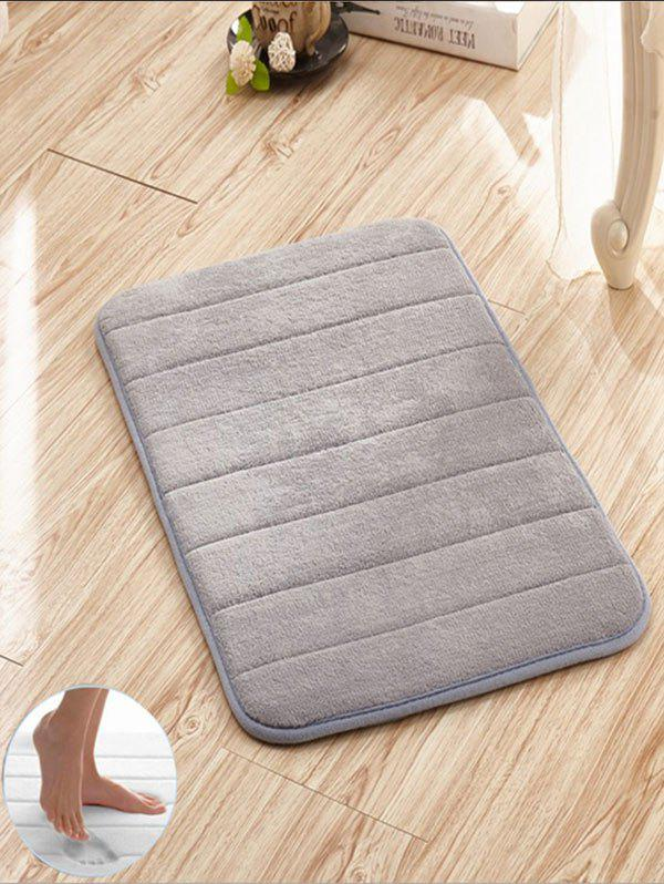 Slow Rebound Memory Coral Fleece Striped Door MatHOME<br><br>Size: W24 INCH * L35.5 INCH; Color: GRAY; Products Type: Bath rugs; Materials: Coral FLeece; Pattern: Solid; Style: Trendy; Shape: Rectangle; Package Contents: 1 x Rug;