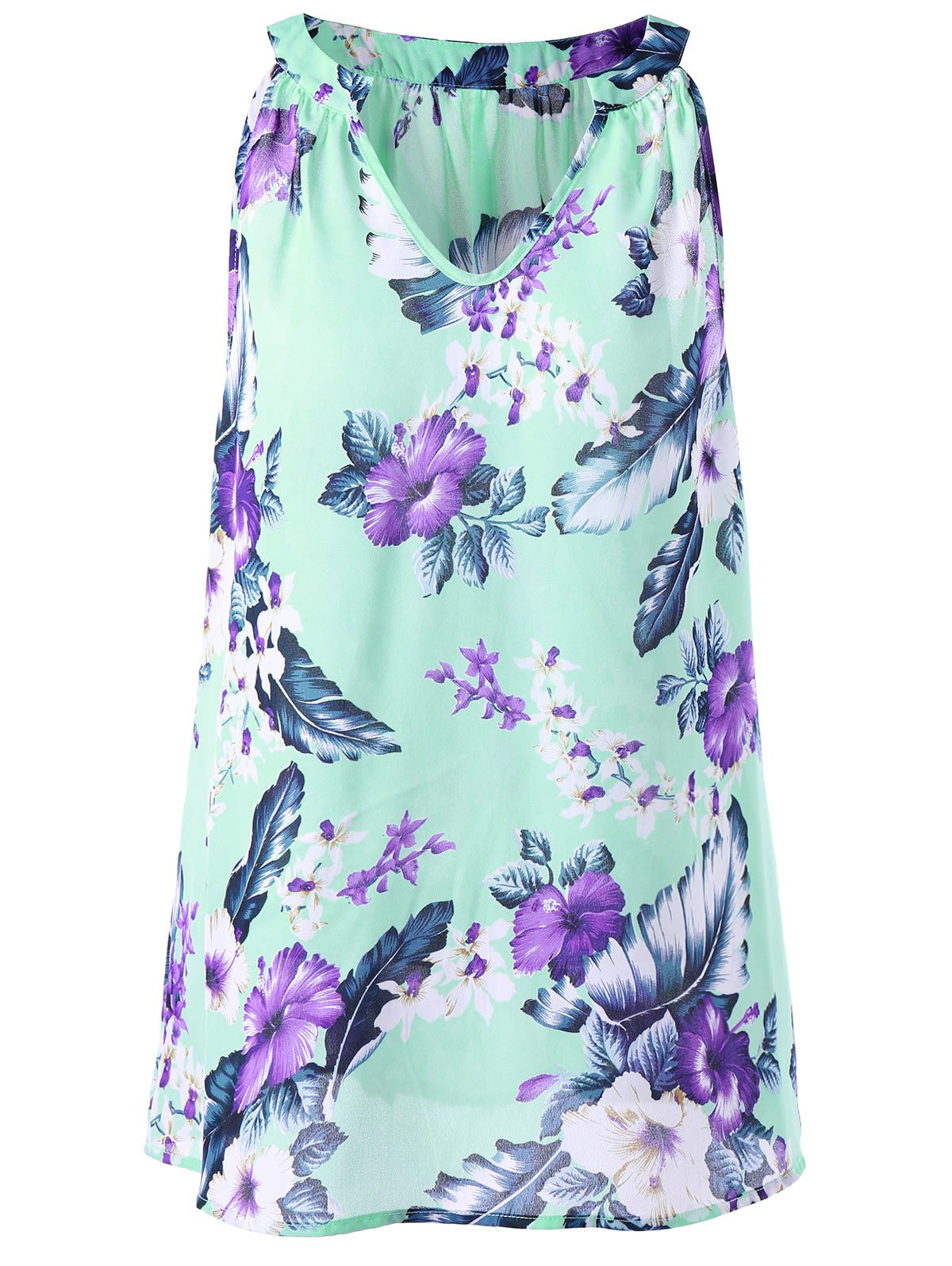 Plus Size V Neck Floral Tent BlouseWOMEN<br><br>Size: 3XL; Color: MINT; Material: Polyester; Shirt Length: Regular; Sleeve Length: Sleeveless; Collar: V-Neck; Style: Casual; Season: Summer; Pattern Type: Floral; Weight: 0.1600kg; Package Contents: 1 x Blouse;