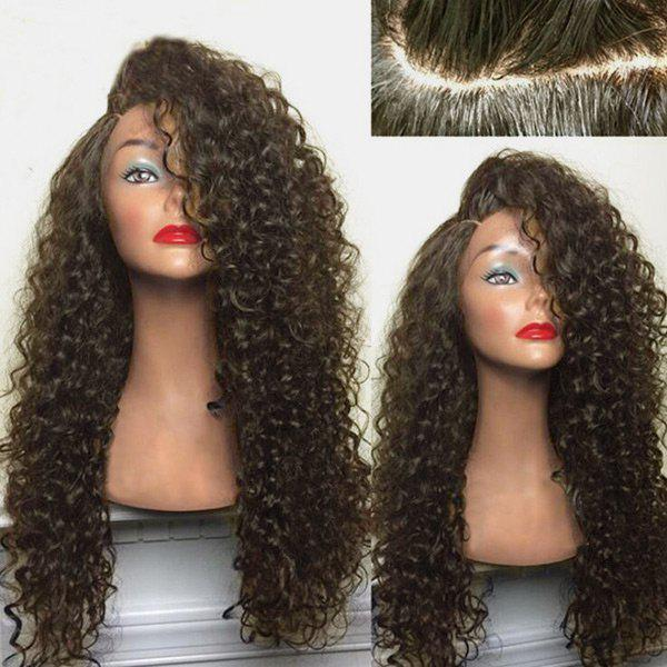 Long Deep Side Part Shaggy Kinky Curly Synthetic WigHAIR<br><br>Color: BROWN; Type: Full Wigs; Cap Construction: Capless; Style: Curly; Material: Synthetic Hair; Bang Type: Side; Length: Long; Length Size(CM): 68; Weight: 0.2900kg; Package Contents: 1 x Wig;