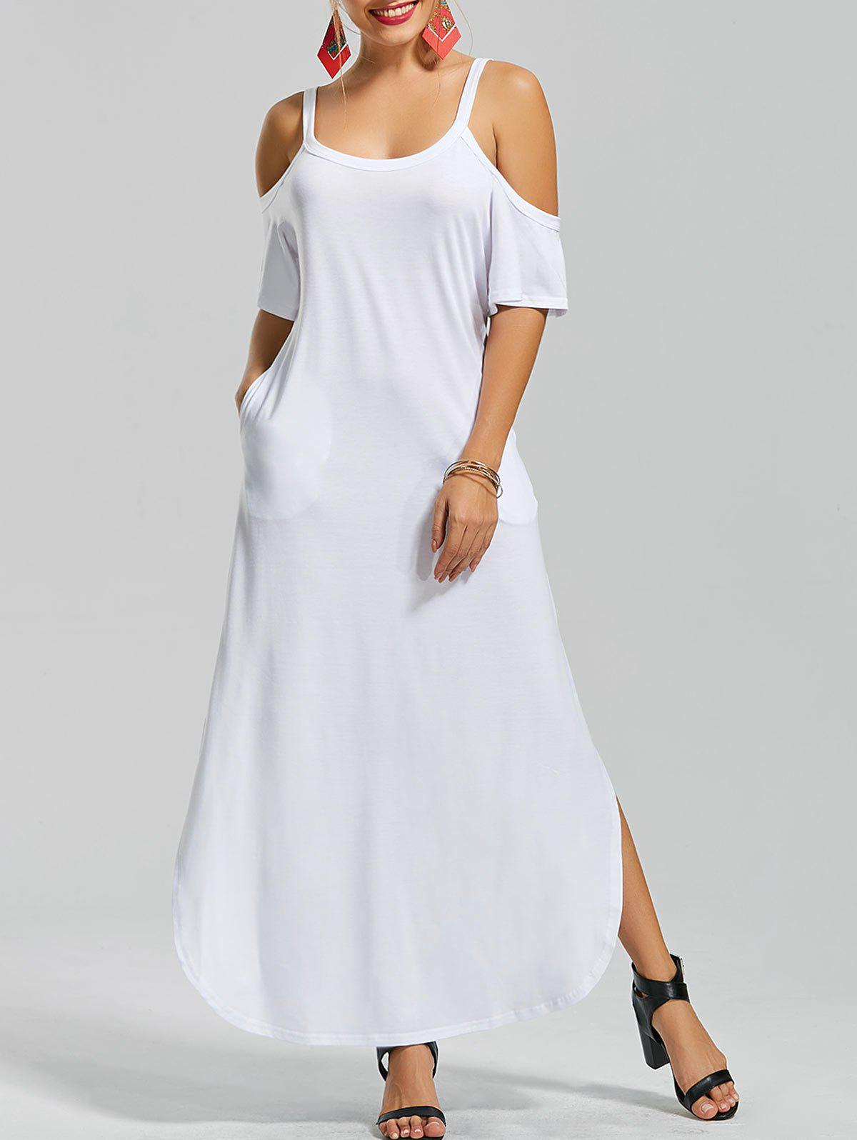 Slit Pockets Maxi Cold Shoulder DressWOMEN<br><br>Size: 2XL; Color: WHITE; Style: Brief; Material: Cotton,Polyester; Silhouette: Straight; Dresses Length: Floor-Length; Neckline: U Neck; Sleeve Length: Half Sleeves; Embellishment: Pockets; Pattern Type: Solid Color; Elasticity: Elastic; With Belt: No; Season: Summer; Weight: 0.4200kg; Package Contents: 1 x Dress;