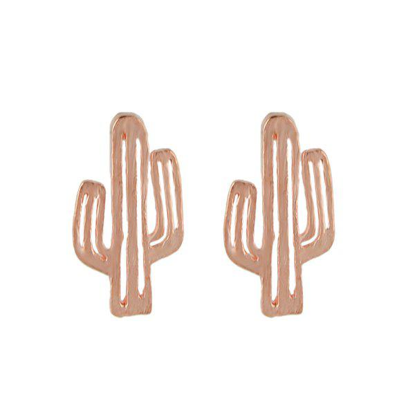 Metal Alloy Cactus Stud EarringsJEWELRY<br><br>Color: ROSE GOLD; Earring Type: Stud Earrings; Gender: For Women; Style: Trendy; Shape/Pattern: Plant; Length: 2CM; Weight: 0.0300kg; Package Contents: 1 x Earring (Pair);