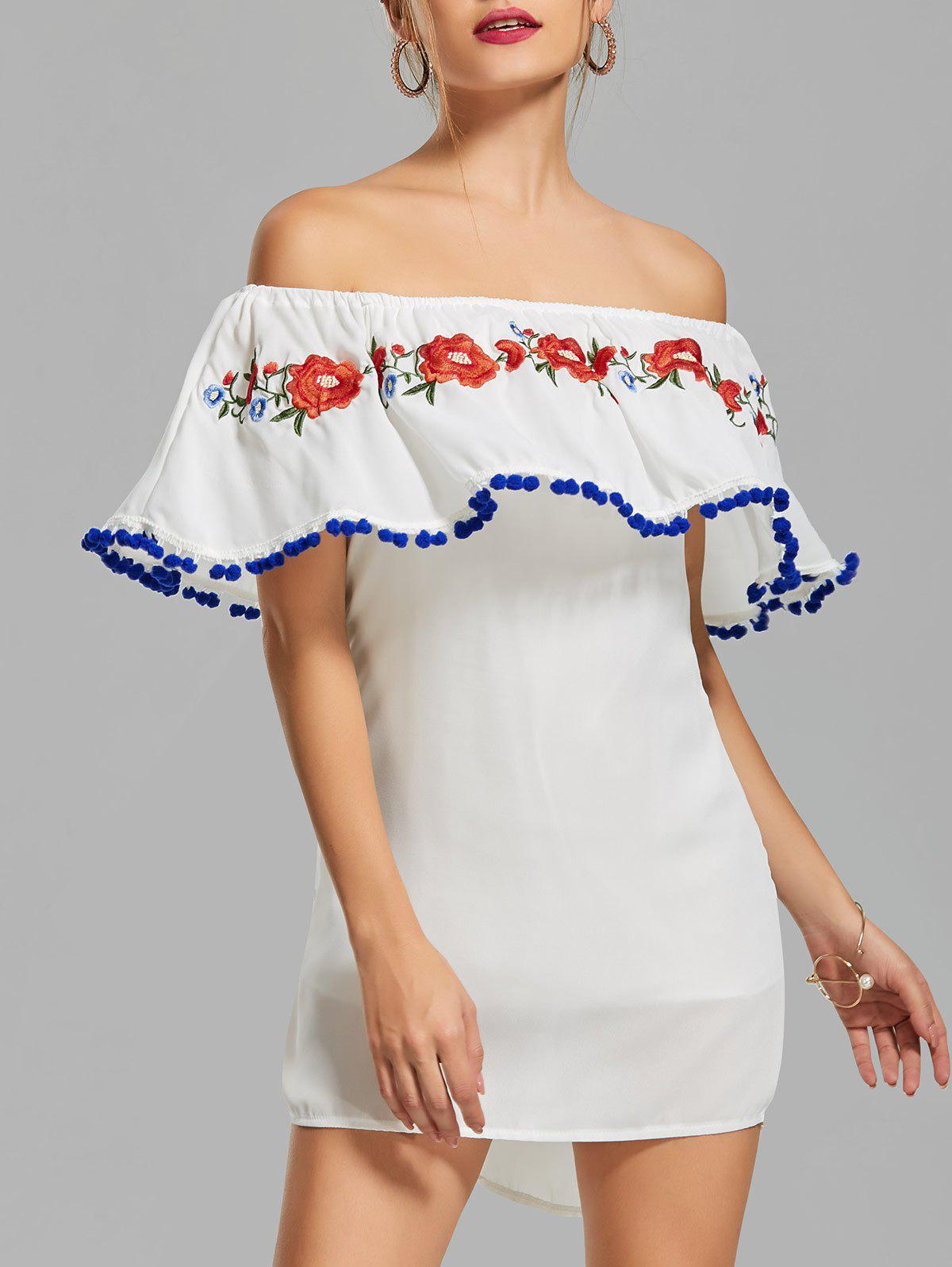 Chic Off The Shoulder Flounce Embroidered Dress