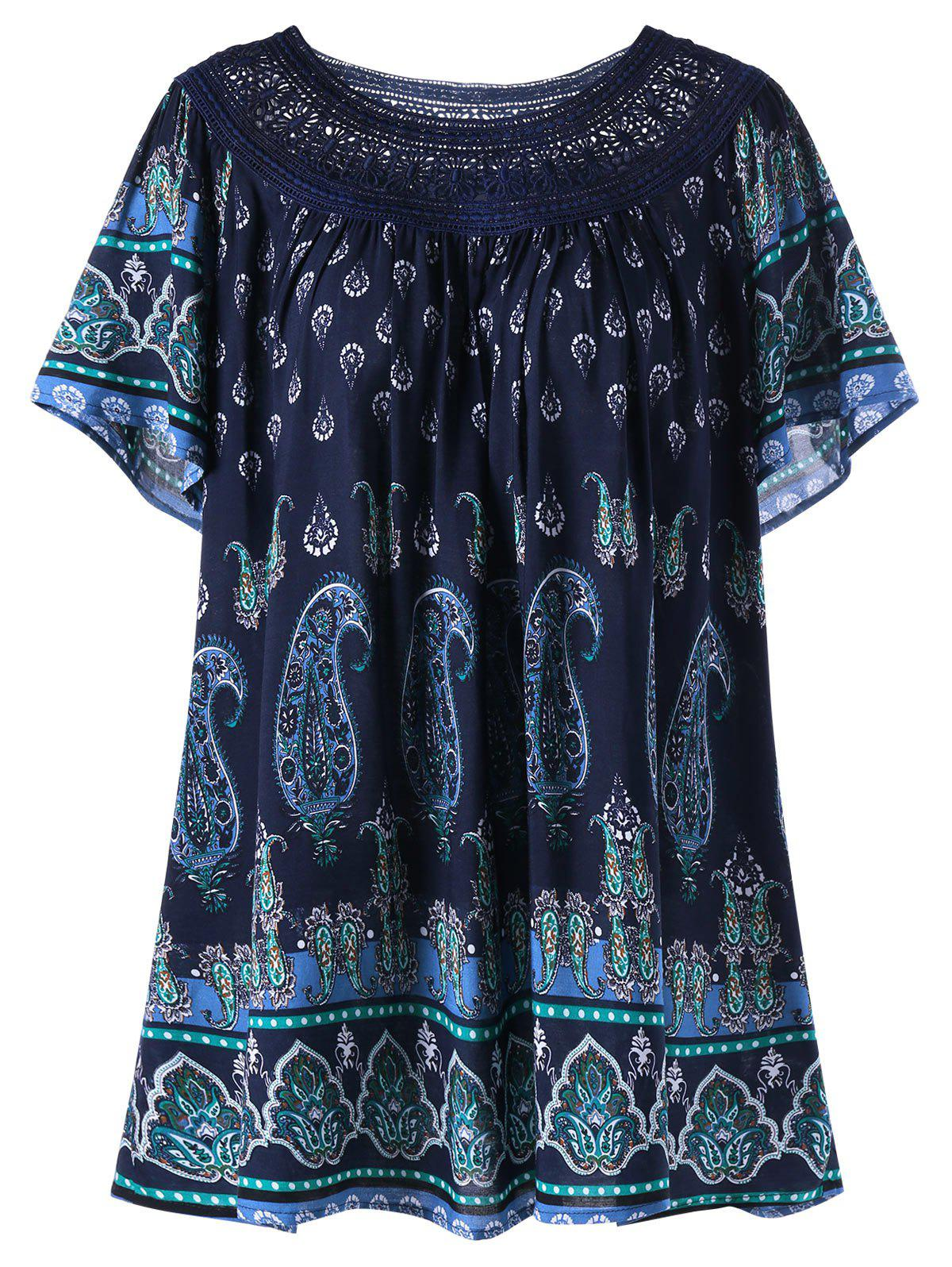 Plus Size Lace Trim Bohemian Tribal Print TopWOMEN<br><br>Size: 2XL; Color: DEEP BLUE; Material: Cotton Blends,Polyester; Shirt Length: Regular; Sleeve Length: Short; Collar: Scoop Neck; Style: Fashion; Season: Spring,Summer; Embellishment: Hollow Out; Pattern Type: Paisley; Weight: 0.2000kg; Package Contents: 1 x Top;