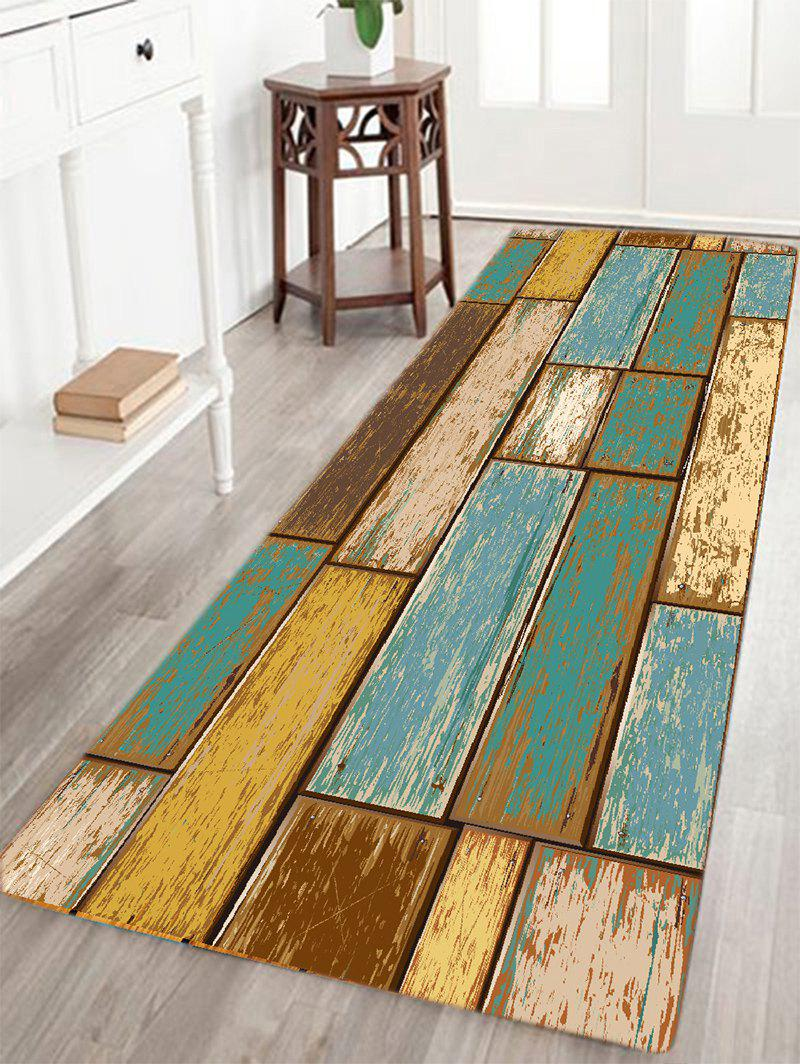 Vintage Wood Floor Pattern Indoor Outdoor Area RugHOME<br><br>Size: W24 INCH * L71 INCH; Color: TURQUOISE; Products Type: Bath rugs; Materials: Flannel; Style: Vintage; Shape: Rectangle; Package Contents: 1 x Area Rug;
