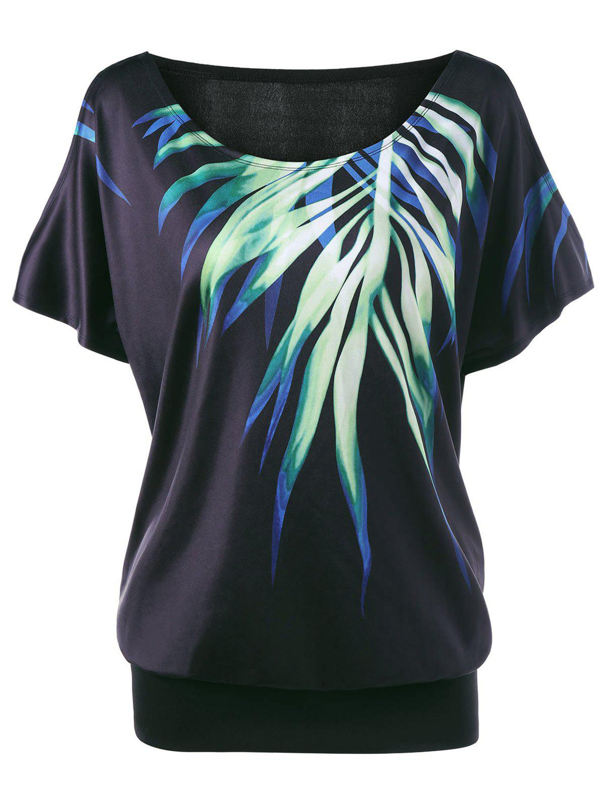 Latest Leaf Printed Cold Shoulder Plus Size T-shirt