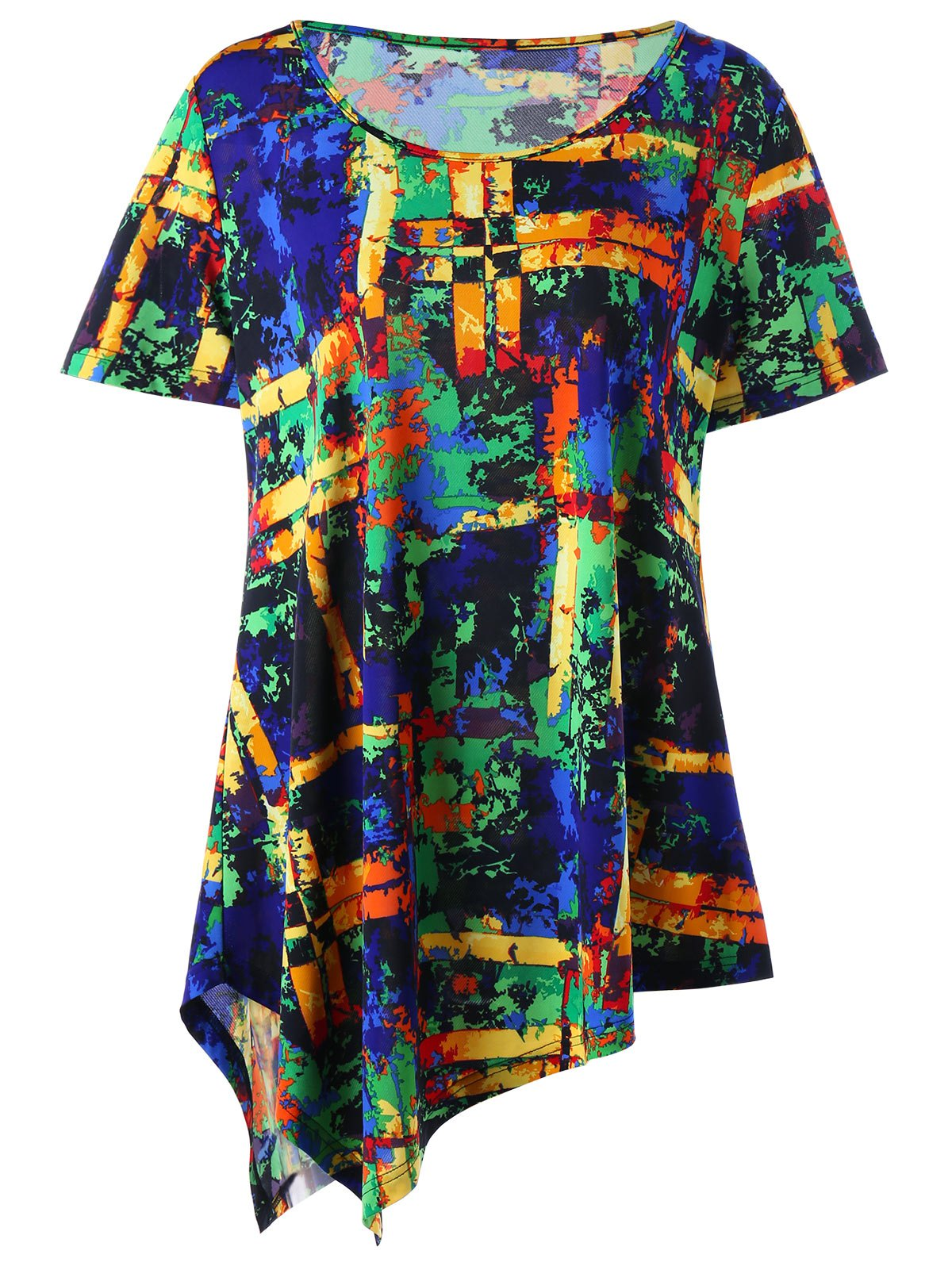 Plus Size Multi All-printed Long Asymmetric T-shirtWOMEN<br><br>Size: 5XL; Color: COLORMIX; Material: Cotton,Cotton Blends,Polyester; Shirt Length: Long; Sleeve Length: Short; Collar: Round Neck; Style: Fashion; Season: Spring,Summer; Pattern Type: Print; Weight: 0.2500kg; Package Contents: 1 x Tee;