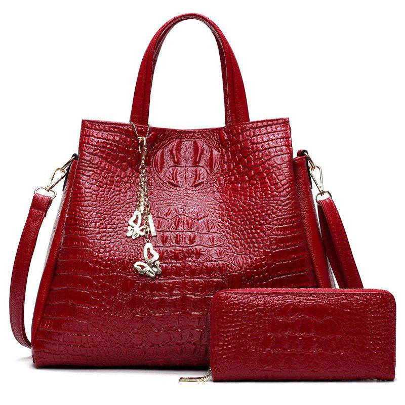 Trendy Crocodile Embossed Handbag with Wallet