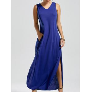 V Neck Side Slit Tank Maxi Dress