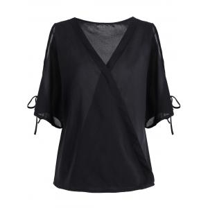 V Neck Chiffon Cold Shoulder Top - Black - 2xl