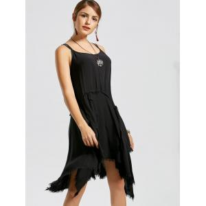 Fringe Short Asymmetric Long Slip Dress - BLACK L