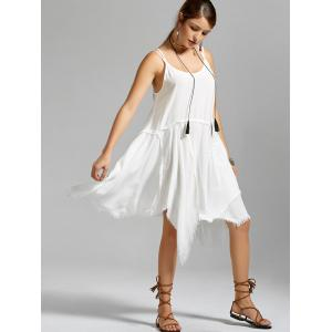 Fringe Short Asymmetric Long Slip Dress - WHITE L