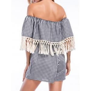 Tassels Off The Shoulder Checked Flounce Romper -
