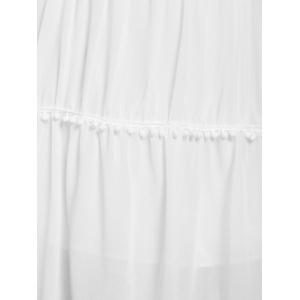 Stylish White Off The Shoulder Spaghetti Strap With Lace Women's Dress -