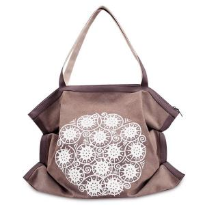 Print Canvas Ruched Shoulder Bag - Brown
