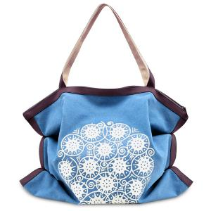 Print Canvas Ruched Shoulder Bag - Blue - 39