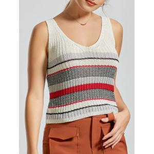 V Neck Striped Knit Sweater Vest - White - One Size
