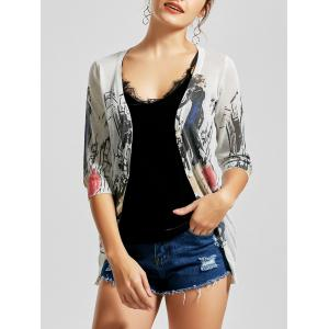 V Neck Button Up Graphic Cardigan