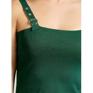 Slim Fit Square Collar Crop Tank Top - Vert Armée TAILLE MOYENNE