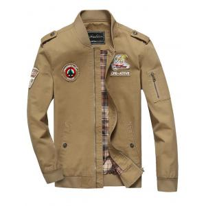 Patch Embellished Zip Fly Bomber Jacket - Khaki - M