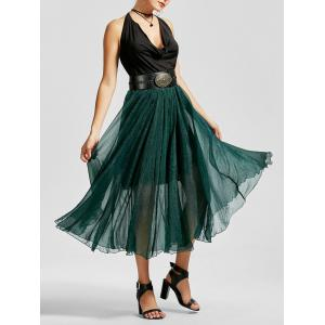 A Line See Through Chiffon Long Skirt - Blackish Green - 2xl
