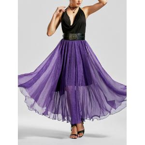 A Line See Through Chiffon Long Skirt