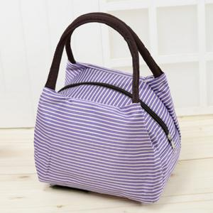 Striped Nylon Lunch Bag - Purple