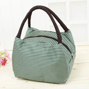 Striped Nylon Lunch Bag - Green