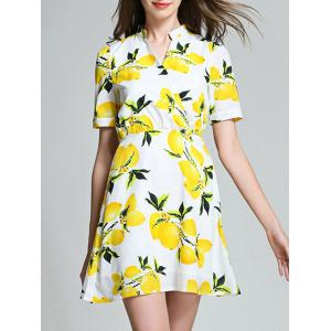 Lemon Print High Waist Blouse Dress - White - Xl