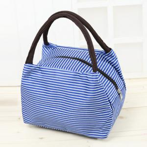 Striped Nylon Lunch Bag - Blue - 39