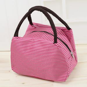 Striped Nylon Lunch Bag - Pink