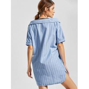 Striped Cold Shoulder Mini Shift Dress - LIGHT BLUE M